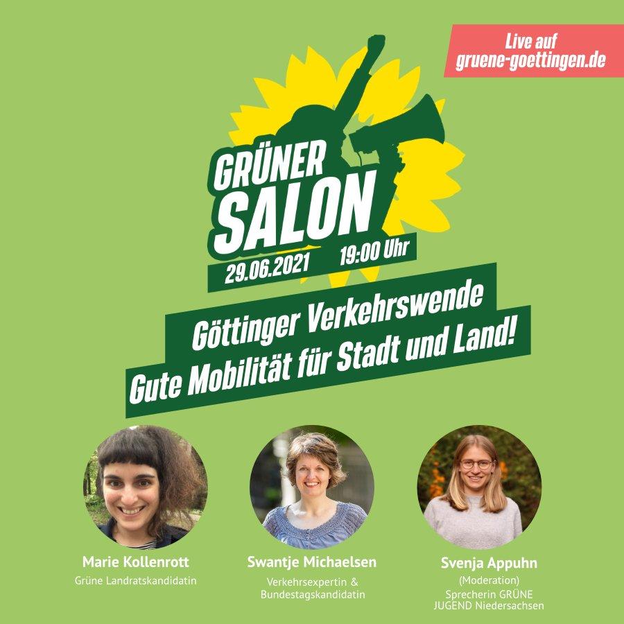 Grüner Salon zum Thema Verkehrswende mit Marie Kollenrott