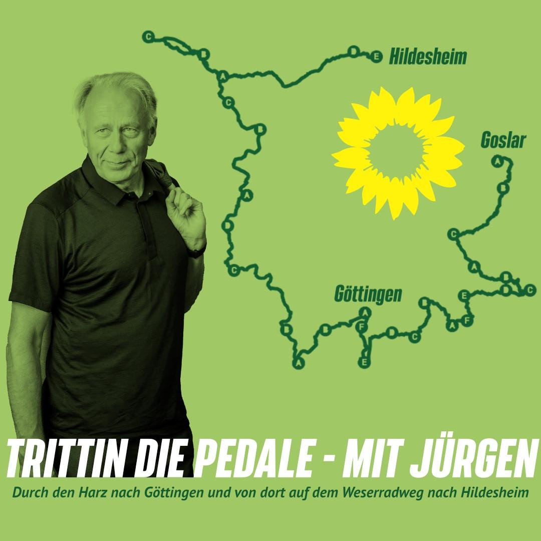 Trittin die Pedale | Jürgen Trittin auf dem Hohen Hagen bei Dransfeld